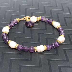 Amethyst, Pearl and Gold Bracelet